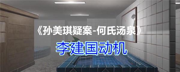 《孙美琪疑案-何氏汤泉》三级线索——李建国动机