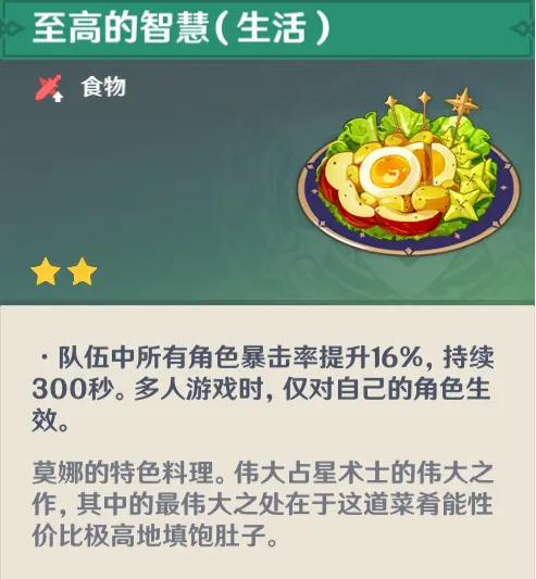 《原神》莫娜隐藏料理介绍
