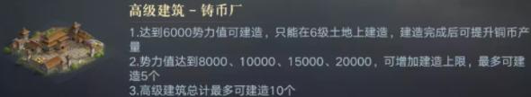 《荣耀新三国》铸币厂建筑升级规划